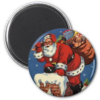 Vintages Weihnachten, Kamin w Weihnachtsmanns Runder Magnet 5,7 Cm