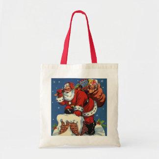 Vintages Weihnachten, Kamin w Weihnachtsmanns Tragetasche