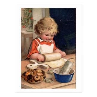Vintages Weihnachten - Mädchen-Backen-Plätzchen Postkarte