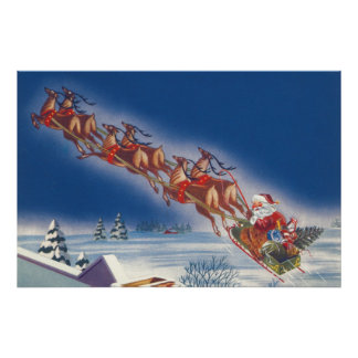 Vintages Weihnachten, Ren Sankt-Fliegensleigh-w Poster