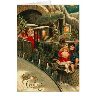 Vintages Weihnachten Sankt auf Zug Karte