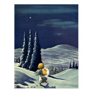 Vintages Weihnachten, Schnee-Engel, der mit einem Postkarte