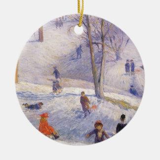 Vintages Weihnachten, Sledding, Central Park Rundes Keramik Ornament