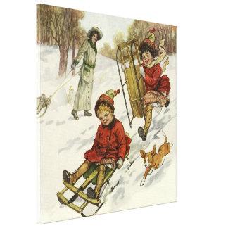 Vintages Weihnachten, viktorianische Kinder, die Leinwanddruck