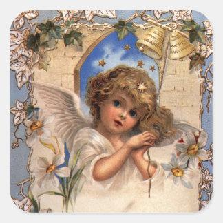Vintages Weihnachten, viktorianischer Engel mit Quadratischer Aufkleber
