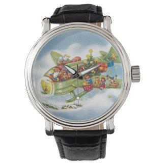 Vintages Weihnachten, Weihnachtsmann, der ein Uhr