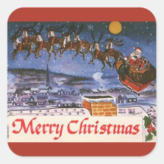 Vintages Weihnachten Weihnachtsmann, der seinen Quadratischer Aufkleber