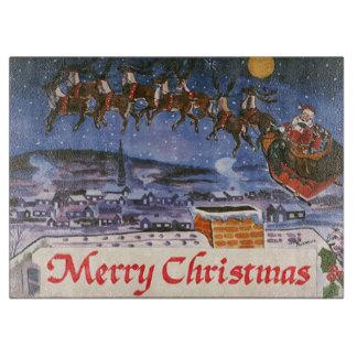 Vintages Weihnachten Weihnachtsmann, der seinen Schneidebrett