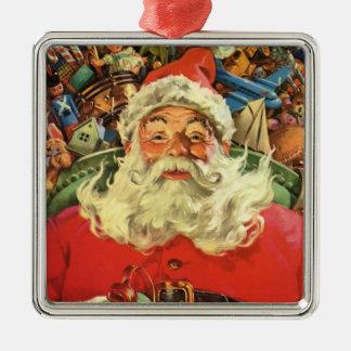 Vintages Weihnachten, Weihnachtsmann im Sleigh mit Silbernes Ornament
