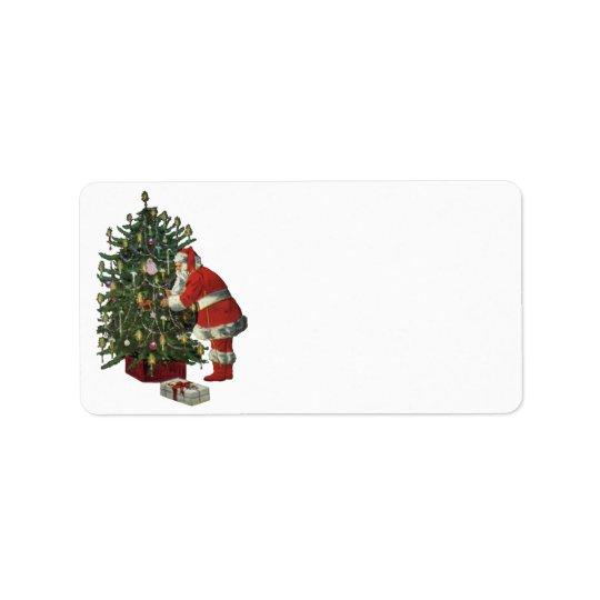 Vintages Weihnachten, Weihnachtsmann mit Adress Aufkleber