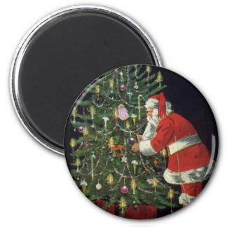 Vintages Weihnachten, Weihnachtsmann mit Runder Magnet 5,1 Cm