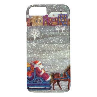 Vintages Weihnachten, Weihnachtsmann-Pferdeoffener iPhone 8/7 Hülle