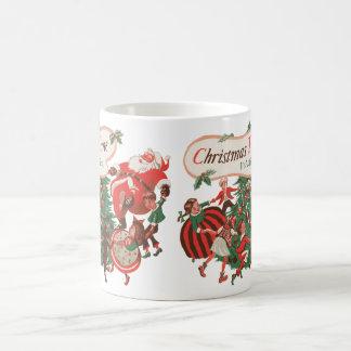 Vintages Weihnachten Weihnachtsmann und Kaffeetasse