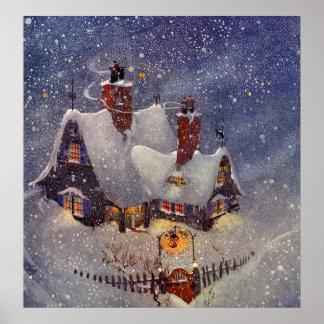 Vintages Weihnachten, Weihnachtsmann-Werkstatt Poster
