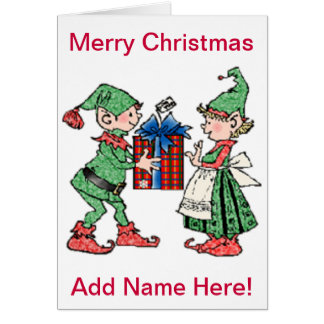 Vintages Weihnachtself-Geschenk-Geben Karte