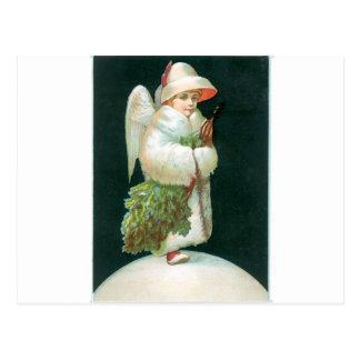 Vintages Weihnachtsengels-Mädchen Postkarte