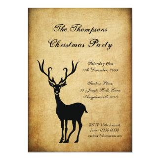 Vintages Weihnachtsren-WeihnachtsParty 11,4 X 15,9 Cm Einladungskarte