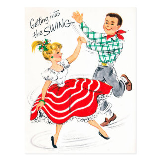 Vintages Weihnachtsretro Paare Feiertagspostkarte Postkarte