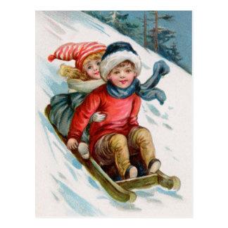 Vintages WeihnachtsSledding Postkarten