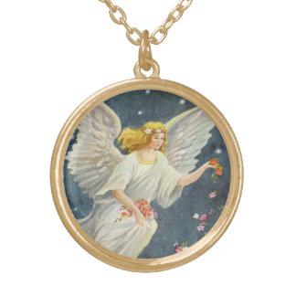 Vintages Weihnachtsviktorianischer Engel mit Vergoldete Kette