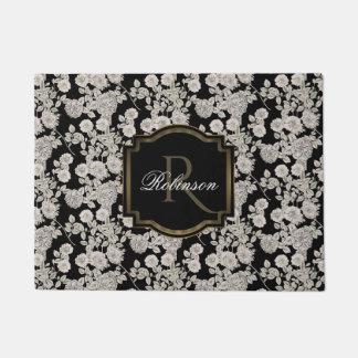 Vintages weißes Blumenmonogramm des Schwarz-| Türmatte