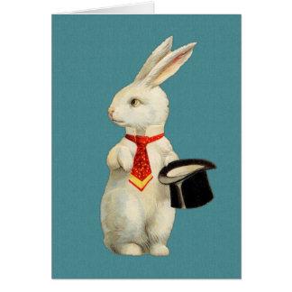 Vintages weißes Kaninchen Mitteilungskarte