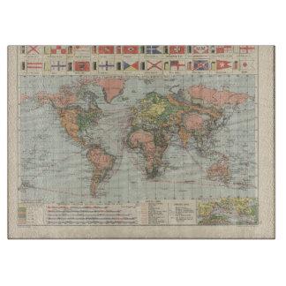 Vintages Weltkarte kundenspezifisches Schneidebrett