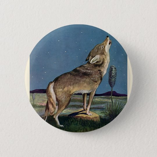 Vintages wildes Tier, Wolf, der am Mond heult Runder Button 5,1 Cm