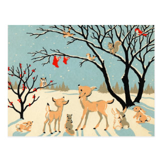 Vintages Winter-Märchenland Postkarte