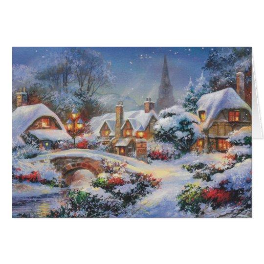 Vintages Winter-Weihnachtsdorf Grußkarte