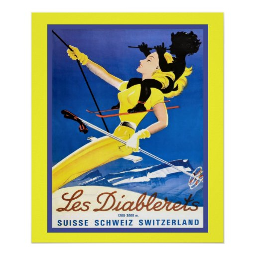 Vintages Wintersportplakat Posterdrucke