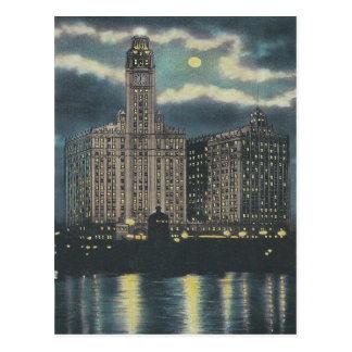 Vintages Wrigley-Gebäude Chicago Postkarte
