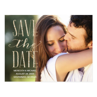 Vintages Zauber | Glitter-Blick Foto Save the Date Postkarte