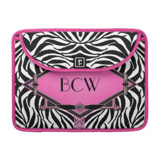 Vintages Zebra-Kunst-Deko-Rosa-Diamant-Monogramm Sleeve Für MacBook Pro