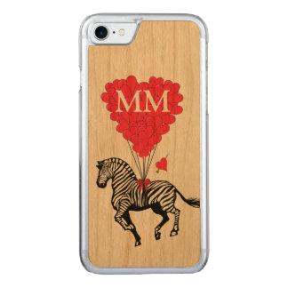 Vintages Zebra- und Liebeherz Carved iPhone 7 Hülle