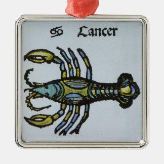 Vintages Zeichen des Tierkreises, Krebs die Krabbe Quadratisches Silberfarbenes Ornament