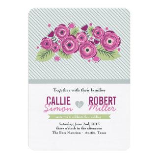 Violette Blumenhochzeits-Einladung Karte
