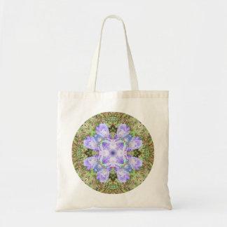 Violette Iris-Mandala Budget Stoffbeutel