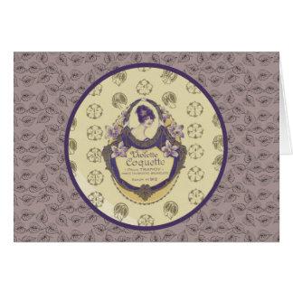 Violette Koketten-französischer Seifen-Aufkleber Karte