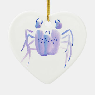 Violette Krabbe Keramik Herz-Ornament