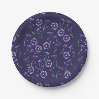 Violette lila Blume Pappteller 17,8 Cm