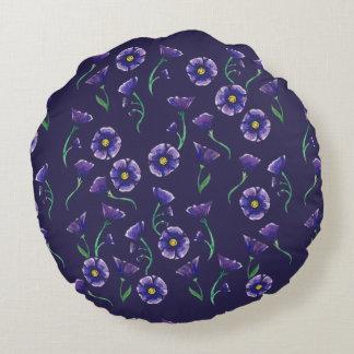 Violette lila Blume Rundes Kissen