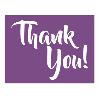 Violette lila und weiße Kalligraphie danken Ihnen Postkarte