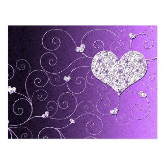 Violette Luxuskarte des Herz-Wirbel Save the Date Postkarte