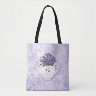 Violette Teekanne ganz über Druck-Taschen-Tasche Tasche