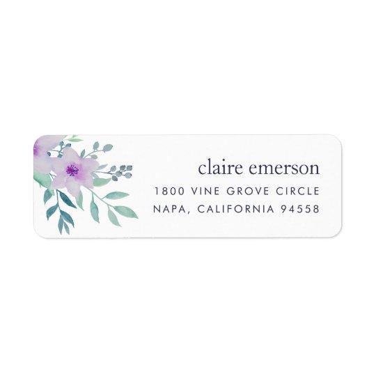 Violette und weise BlumenRücksendeadresse Kleiner Adressaufkleber
