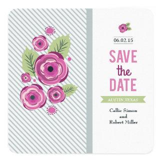 Violettes Blumen Save the Date Quadratische 13,3 Cm Einladungskarte
