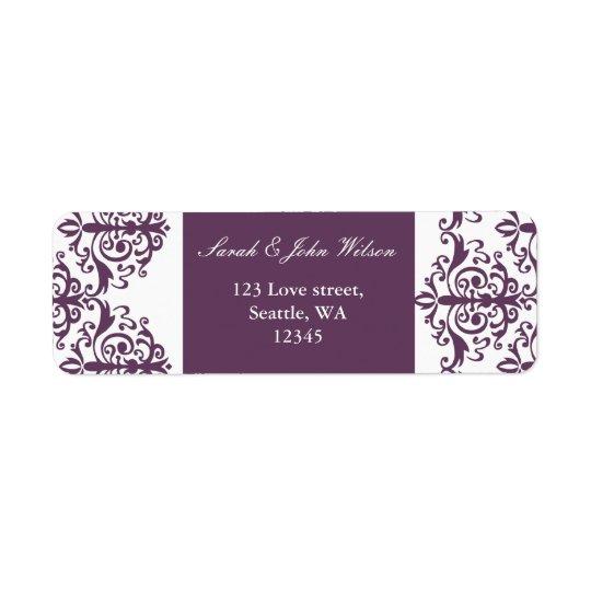 violettes DamastAdressen-Etikett