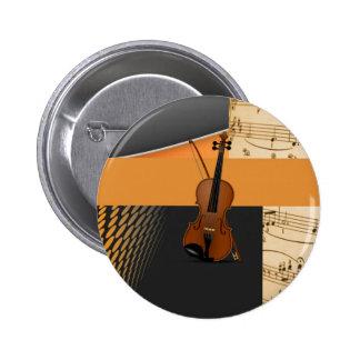 Violine in abstraktem runder button 5,7 cm