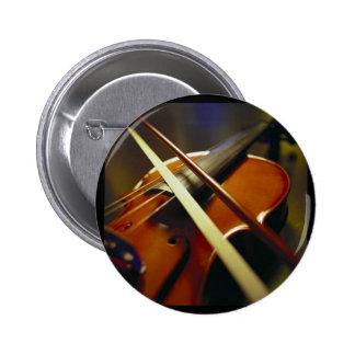 Violine u. Bogen-Nahaufnahme 1 Runder Button 5,1 Cm